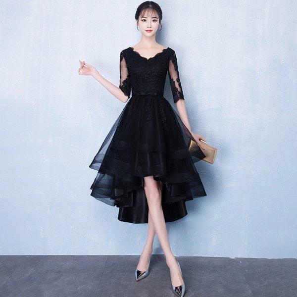 パーティードレス 結婚式 二次会 ワンピース 結婚式ドレス お呼ばれワンピース 20代 30代 40代 袖あり ショート 黒 花柄 レース シフォン  大きいサイズ