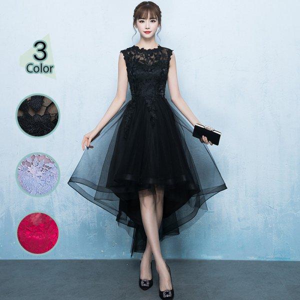 パーティードレス 結婚式 二次会 ワンピース 結婚式ドレス お呼ばれワンピース 20代 30代 40代 ミニ丈 黒 赤 ワインレッド レース 刺繍  大きいサイズ