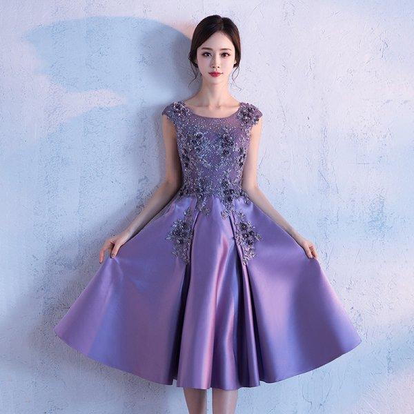 パーティードレス 結婚式 二次会 ワンピース 結婚式ドレス お呼ばれワンピース 20代 30代 40代 ミモレ丈 ひざ下丈 紫 赤 花柄 刺繍 大きいサイズ
