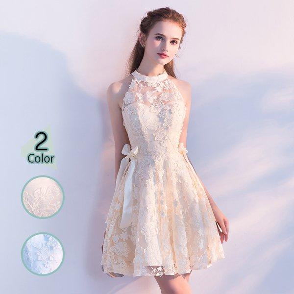 パーティードレス 結婚式 二次会 ワンピース 結婚式ドレス お呼ばれワンピース 20代 30代 40代 ミニ ショート レース 花柄 刺繍 大きいサイズ