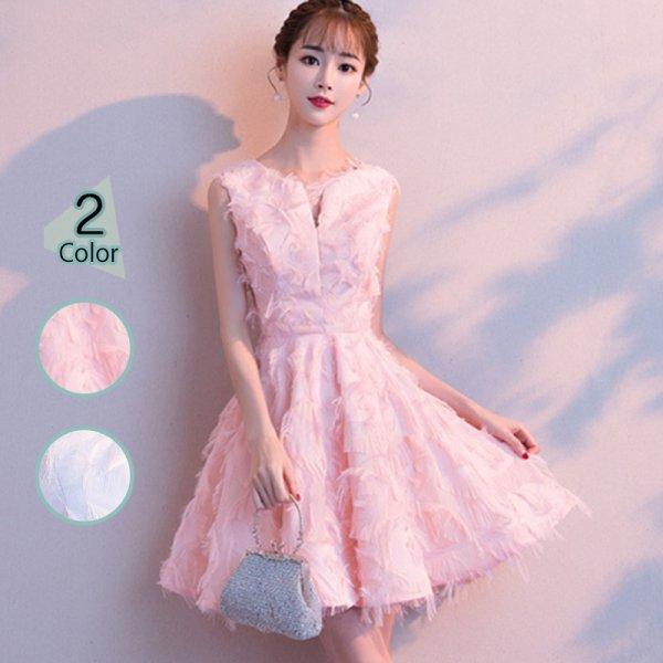 パーティードレス 結婚式 二次会 ワンピース 結婚式ドレス お呼ばれワンピース 20代 30代 40代 ショート ピンク 大きいサイズ