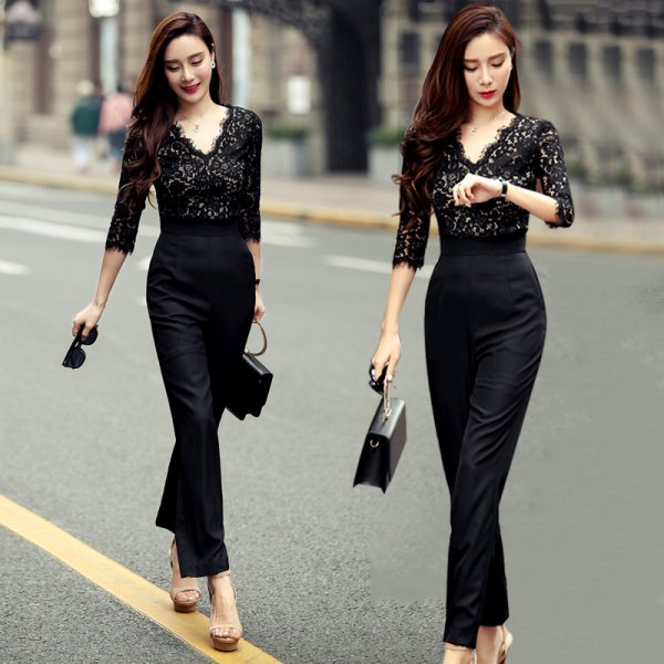 パーティードレス パンツ 結婚式 二次会 パンツドレス 結婚式ドレス お呼ばれドレス 20代 30代 40代 ロングドレス 袖あり 黒 レース 花柄 大きいサイズ