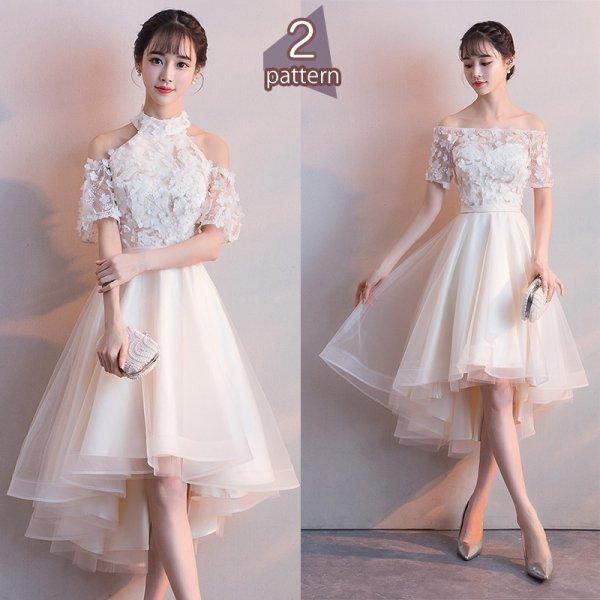 パーティードレス 結婚式 二次会 ワンピース 結婚式ドレス お呼ばれワンピース 20代 30代 40代 袖あり ひざ丈 白 レース 刺繍 花柄 大きいサイズ