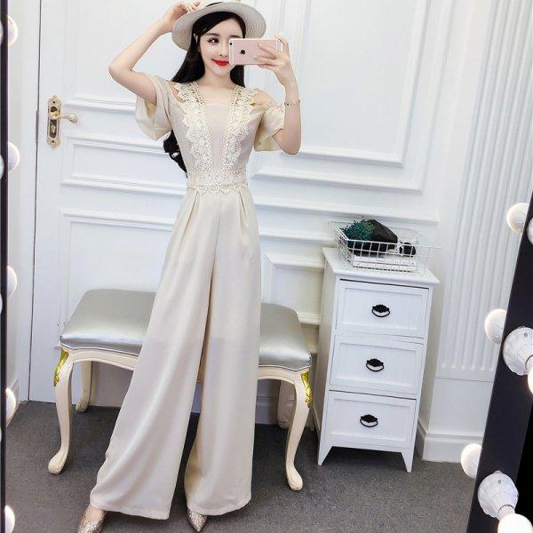 パーティードレス パンツ 結婚式 二次会 パンツドレス 結婚式ドレス お呼ばれドレス 20代 30代 40代 ロングドレス 袖あり レース