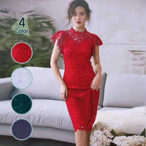 パーティードレス 結婚式 二次会 ワンピース 結婚式ドレス お呼ばれワンピース 20代 30代 40代 袖あり ひざ丈 黒 赤 緑 刺繍 大きいサイズ