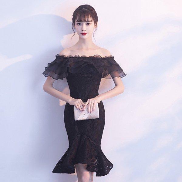 パーティードレス 結婚式 二次会 ワンピース 結婚式ドレス お呼ばれワンピース 20代 30代 40代 袖あり ひざ丈 黒 レース 刺繍 大きいサイズ