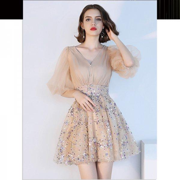 パーティードレス 結婚式 二次会 ワンピース 結婚式ドレス お呼ばれワンピース 20代 30代 40代 袖あり ミニ レース シフォン 大きいサイズ