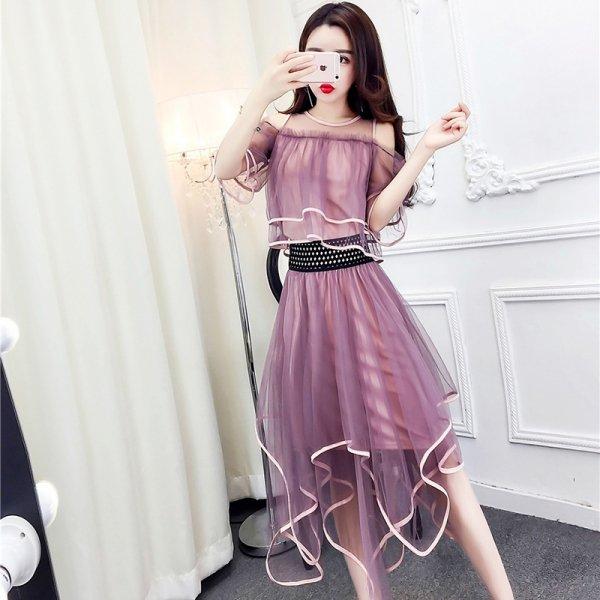パーティードレス 結婚式 二次会 ワンピース 結婚式ドレス お呼ばれワンピース 20代 30代 40代 ロングドレス 袖あり  ピンク 紫
