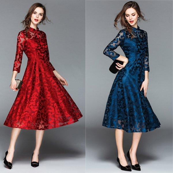 パーティードレス 結婚式 二次会 ワンピース 結婚式ドレス お呼ばれワンピース 20代 30代 40代 袖あり ミモレ丈 黒 赤 ブルー 大きいサイズ
