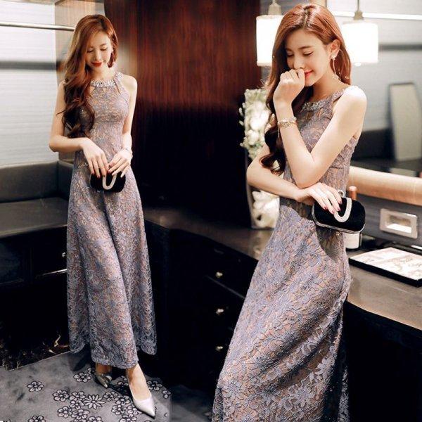 パーティードレス ドレス ロング丈 ノースリーブ 花柄 お呼ばれドレス ロングドレス 詩集 大人可愛い きれいめ 着痩せ エレガント 春夏 結婚式 二次会 お呼ばれ