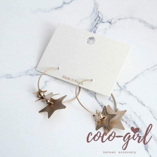 即納 韓国 アクセサリー ピアス リングピアス 円 輪 星 揺れるピアス シンプル かわいい ゴールド マット 韓国ファッション オルチャン ブライダル 結婚式 二次会 パーティー