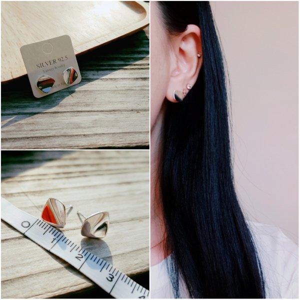 即納 ピアス シルバー925 silver925 カーブ ひし形 人気 韓国ファッション パーティーアクセサリー オルチャン