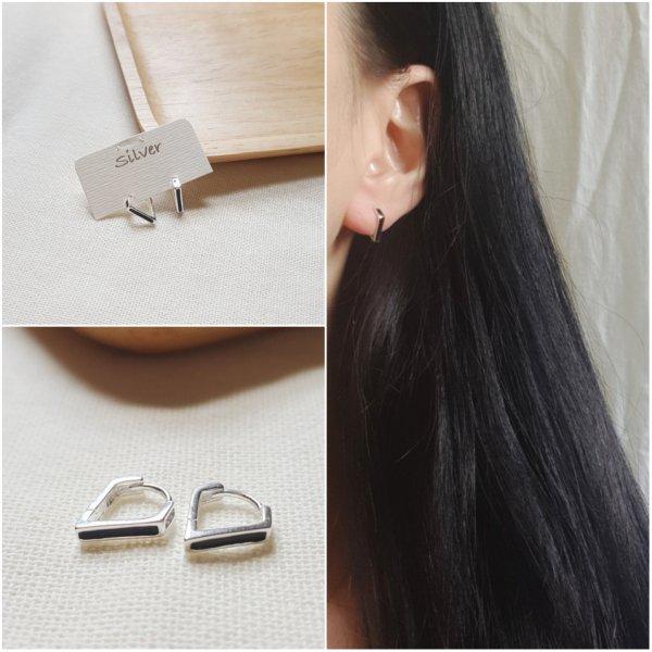 即納 ピアス シルバー925 silver925 トライアングル フープピアス 個性的 人気 韓国ファッション パーティーアクセサリー オルチャン