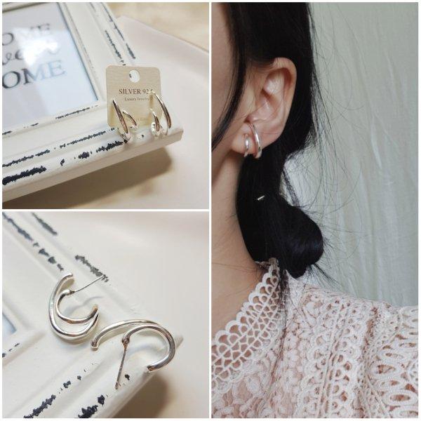 即納 ピアス シルバー925 silver925 フープピアス 2連ピアス シンプルピアス 人気 韓国ファッション パーティーアクセサリー オルチャン