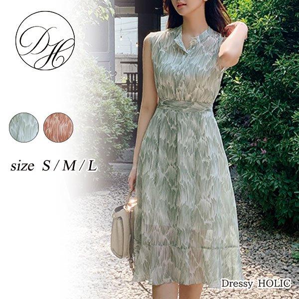 即納 韓国ファッション サマードレス リゾートワンピース パーティドレス ミモレ丈 ノースリーブ 透け感 大人可愛い 春夏 結婚式 二次会 お呼ばれ お呼ばれドレス