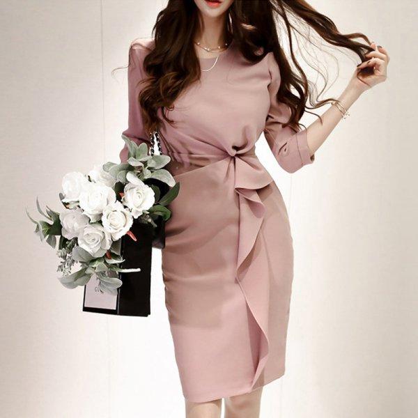 大人上品 カシュクールフリルがかわいい 七分袖ワンピースドレス