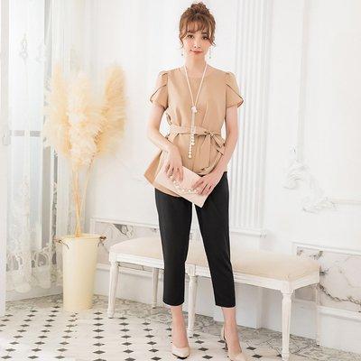 ウエストリボンがかわいいトップスとパンツのセットアップ パンツドレス スーツ 大きいサイズあり