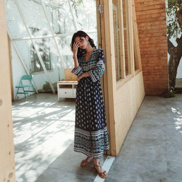 夏のマストハブアイテム 羽織りでも使えるマキシ丈エスニックワンピース ボヘミアン