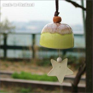 送料無料 陶器の風鈴 -Star Yellow-