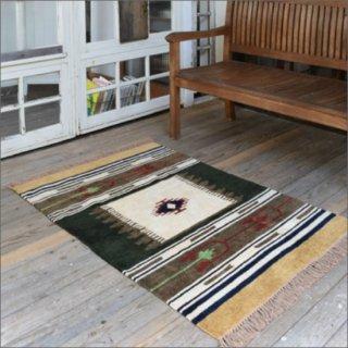 【送料無料】 キリム柄ラグマット(90×130cm)