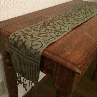 【メール便対応可】 イカット テーブルランナー GREEN 約16×140cm