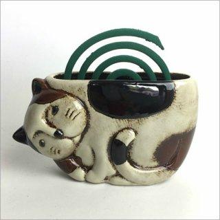 陶器製 蚊遣り ネコ