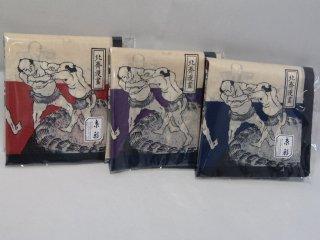 浮世絵相撲はんかち 【赤・紫・青】