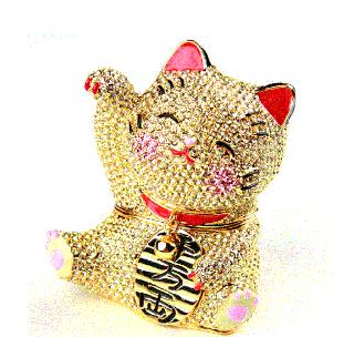 ジュエリーボックス キラキラ招き猫【ゴールド】