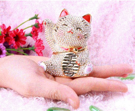 ジュエリーボックス キラキラ招き猫【ピンク・ホワイト】