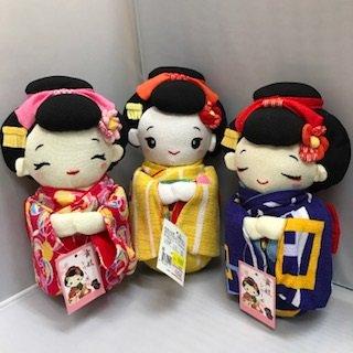 ちりめん舞妓人形(赤・黄・紫・ピンク)