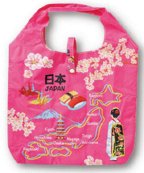 エコバック 日本地図 桃
