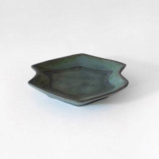 平野日奈子 コバルト釉菱形くびれ豆皿