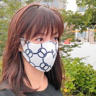 最も美しいマスク★ノーメイクの友 UVマスク  <br> 涼しい2WAY プリント生地 H風ロゴ