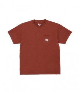 DANERCPH Embroided Triple Logo Pocket Tee Rust