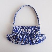 北欧リネンのセカンドバッグ/青いお花