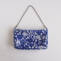 北欧リネンのチェーンバッグ/青いお花