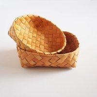 白樺のカゴ/丸いパンかご 2個セット