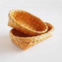 白樺のカゴ/楕円のパンかご 2個セット