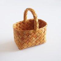 白樺の長方形カゴ/ハンドルバスケット 23×16