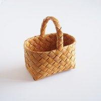 白樺の長方形カゴ/ハンドルバスケット 20×14