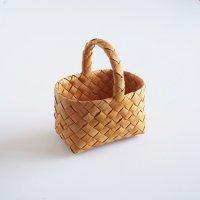 白樺の長方形カゴ/ハンドルバスケット 18×12