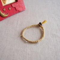 ヘンプのマクラメ編みブレスレット/イエロー A