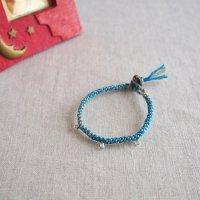 ヘンプのマクラメ編みブレスレット/ブルー A