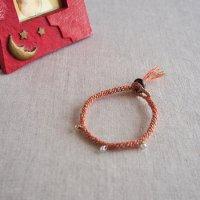 ヘンプのマクラメ編みブレスレット/オレンジ A
