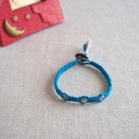 ヘンプのマクラメ編みブレスレット/ブルー B