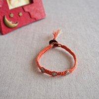 ヘンプのマクラメ編みブレスレット/オレンジ B