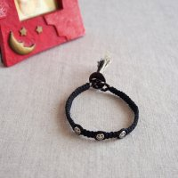ヘンプのマクラメ編みブレスレット/ブラック B