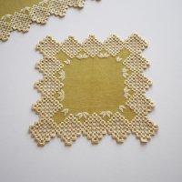 スウェーデンから届いたハーダンガー刺繍クロス/オリーブ 26×26