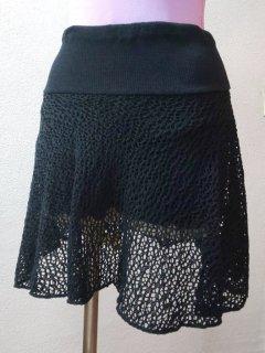 パンツ付メッシュスカート(裾シンプル)セミロング
