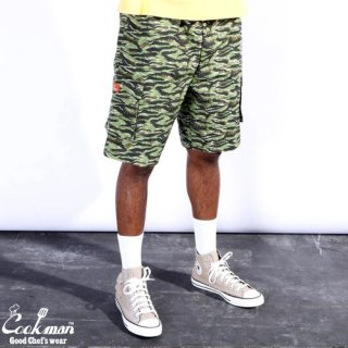 <img class='new_mark_img1' src='https://img.shop-pro.jp/img/new/icons14.gif' style='border:none;display:inline;margin:0px;padding:0px;width:auto;' />Cookman クックマン Chef Pants Short Cargo Ripstop Camo Green (Tiger)